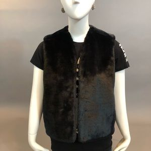 Black Faux Vest With Pockets
